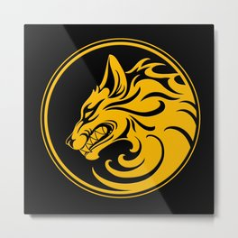 Yellow and Black Growling Wolf Disc Metal Print