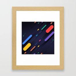Multicolor shapes on black backround Framed Art Print