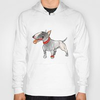 bull terrier Hoodies featuring Bull Terrier by Paola Canti