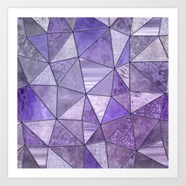 Purple Lilac Glamour Shiny Shimmering Patchwork Art Print