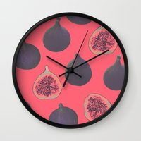 georgiana paraschiv Wall Clocks featuring Fig pattern by Georgiana Paraschiv