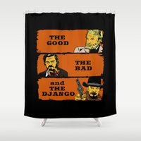 django Shower Curtains featuring The good the bad and the Django by CarloJ1956