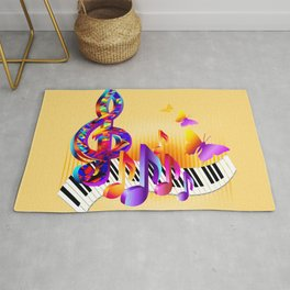 Music notes colorful design Rug