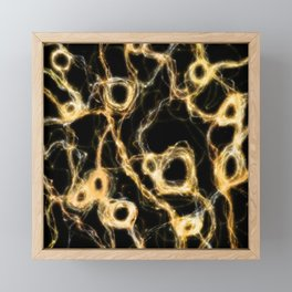 Gold, Brass Electricity Framed Mini Art Print