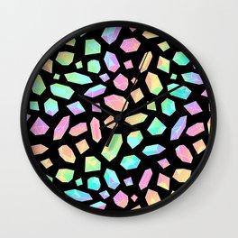 Rainbow Crystal Pattern on Black Wall Clock