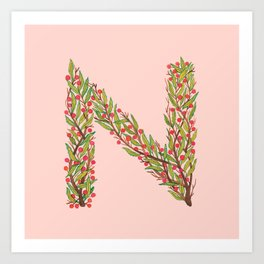 Leafy Letter N Art Print
