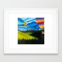 hot air balloons Framed Art Prints featuring Acrylic Hot Air Balloons by Megan White