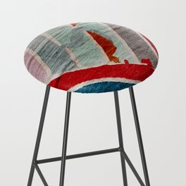 Traditional Moroccan Style Colored Anthropologie Antique Artwork (N29) Bar Stool