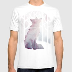 Fox in the Snow LARGE Mens Fitted Tee White