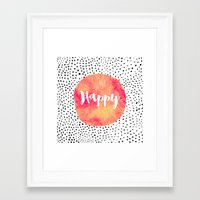 be happy Framed Art Prints featuring Happy by Elisabeth Fredriksson