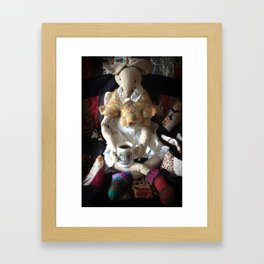 Miss Mouse Enjoys a Nice Cup of Coffee Framed Art Print