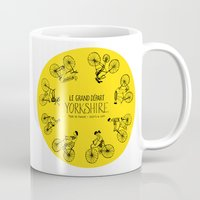 tour de france Mugs featuring Yorkshire Tour de France Grand Départ III by Holly Fisher@SpenceCreative