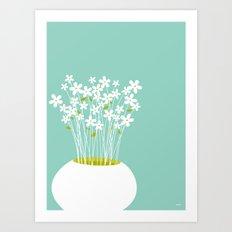 Flowers on Blue by Friztin Art Print