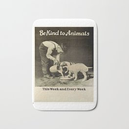 Vintage Be Kind To Animals Advert - Black and White Bath Mat