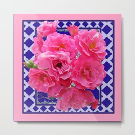 PINK ROSE CLUSTER PURPLE-GREY LATTICE  DESIGN Metal Print