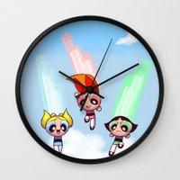patriarchy Wall Clocks featuring Fight Like A Girl by Areyu