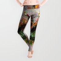 floral pattern Leggings featuring SKULL 2 by Ali GULEC