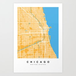Chicago Map | Yellow & Blue Colors Art Print