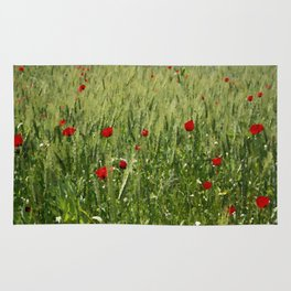 Red Poppies Growing In A Corn Field  Rug