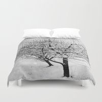 blankets Duvet Covers featuring Blankets of Snow by Bella Blue Photography