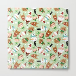 Christmas Crew - Green - Scattered Metal Print