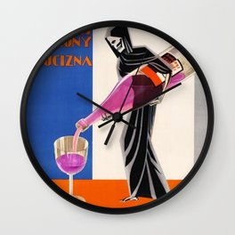 Vintage 1930 Drinking Absinthe Causes Death Alcoholic Beverage Advertising Poster Wall Clock