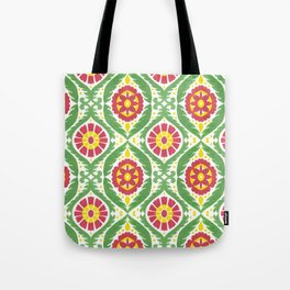 Hand painted red green yellow watercolor motif Tote Bag
