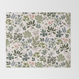 Herbarium ~ vintage inspired botanical art print ~ white Throw Blanket