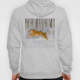 The Siberian Tiger Running in the Snow Hoody