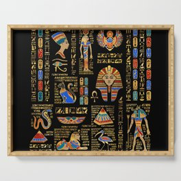 Egyptian hieroglyphs and deities on black Serving Tray