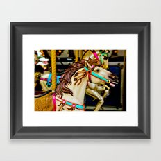Carnival Carousel Horse with Feathers Framed Art Print