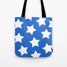 Cheerful Blue Star Print Tote Bag