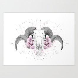 Ram n Rose Art Print