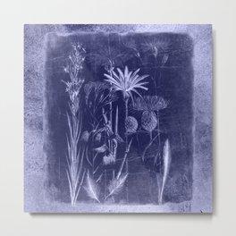 floral cyanotype Metal Print
