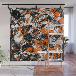 Individualistic Graffiti 7 Black White Orange - Abstract Art Series Wall Mural