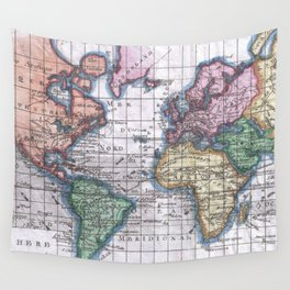 Vintage Map of The World (1780) Wall Tapestry