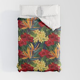 Tropical Paradise Hawaiian Floral Illustration Duvet Cover