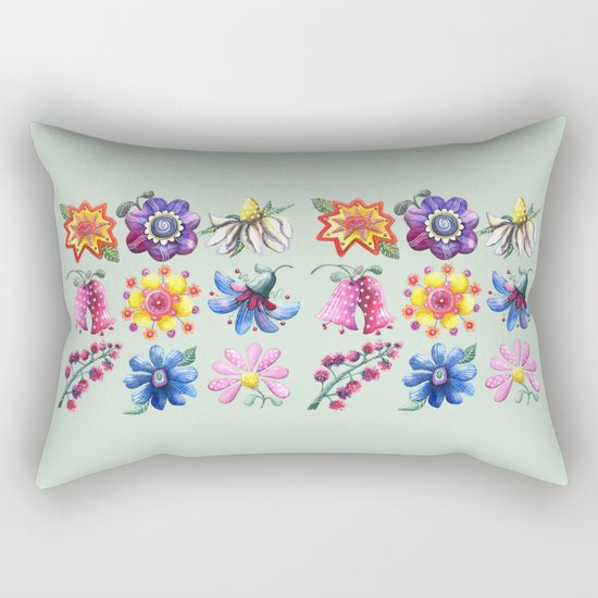Pretty Flowers All in a Row Green Rectangular Pillow