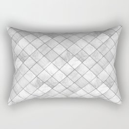 Faux Patchwork Quilting - White & Silver Pattern Rectangular Pillow