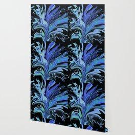 Blue Black Paint Spill Wallpaper
