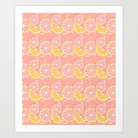Pink Lemons Art Print