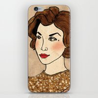dale cooper iPhone & iPod Skins featuring TWIN PEAKS Audrey Horne Loves Dale Cooper by Lindsey Caneso