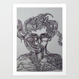 Biomechanical Self-Portrait Art Print