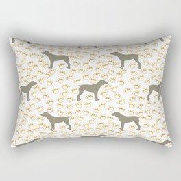 Big Grey Weimaraner Dog and Yellow Paw Prints Rectangular Pillow