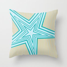 Geometric Blue Star Art Deco Throw Pillow