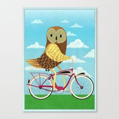 Owl Bicycle Canvas Print