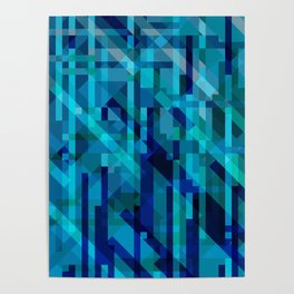 abstract composition in blues Poster