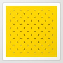 Crosses on Bright Mustard Yellow Art Print
