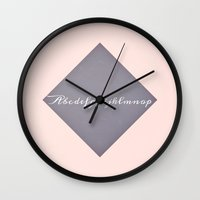 alphabet Wall Clocks featuring Alphabet by Jane Lacey Smith