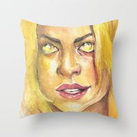 bad wolf Throw Pillows featuring Bad Wolf by JenHoney